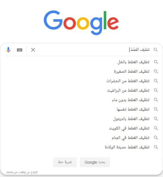 الكلمات المفتاحية في جوجل مثال Autocomplete